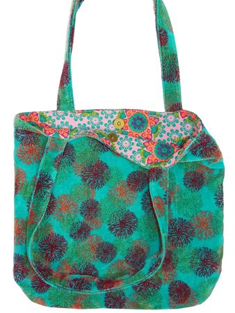 TATIE TOTE BAG + MAGNET<br>VELOURS REEF TURQUOISE<br>L36 x H34 cm