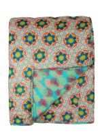 QUILTED BED COVER<br>GUSTAVE SORBET / REEF TURQUOISE