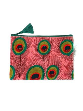 TROUSSE AVION L<br>VELOURS PEACOCK CALYPSO<br>L21 x H14 cm