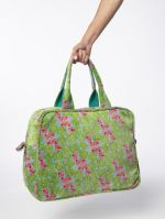 SAC WEEK END POPPINS<br>VELOURS CYCLAMEN SILEX<br>L48 x H35 cm