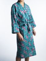 VELVET DRESSING GOWN<br>CYCLAMEN TURQUOISE<br>(1 size fits all)